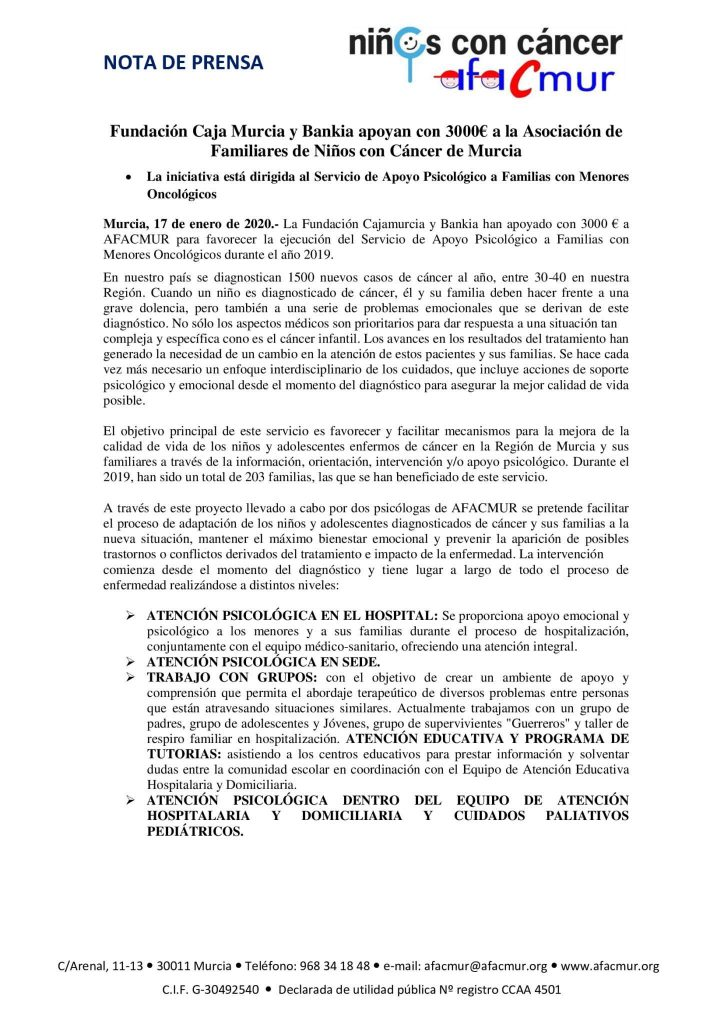 Fundación Caja Murcia y Bankia apoyan con 3000€ a AFACMUR