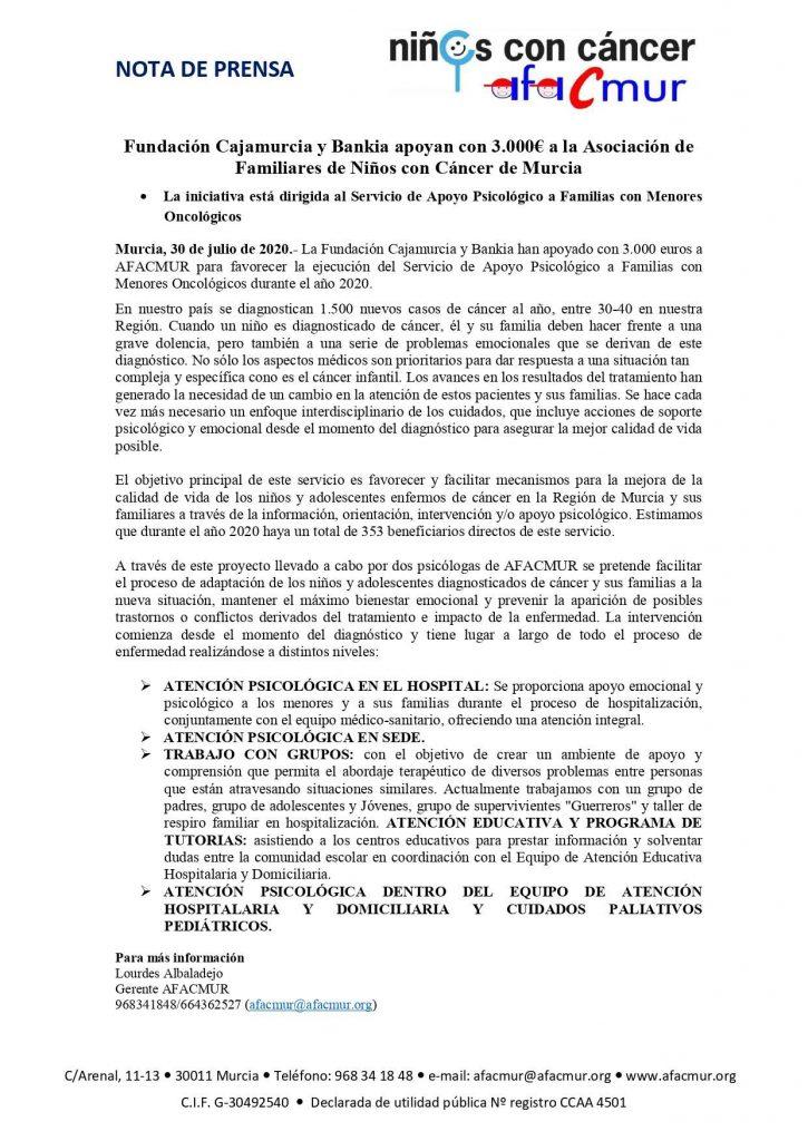 Fundación Cajamurcia y Bankia apoyan con 3.000€ a AFACMUR