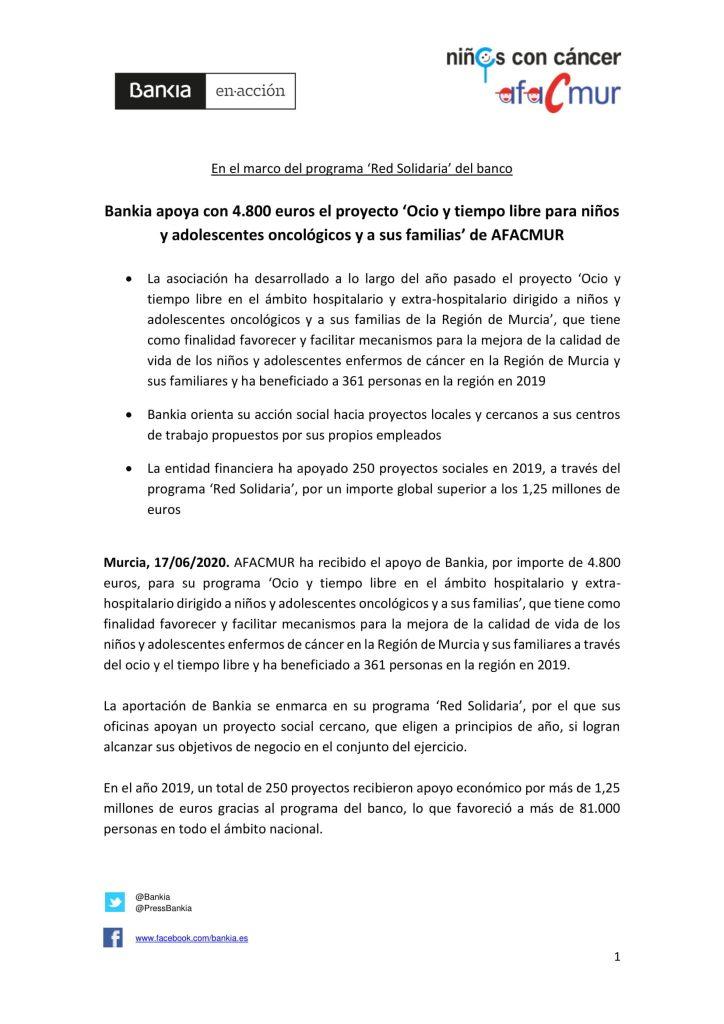 Bankia apoya con 4.800 euros el proyecto 'Ocio y tiempo libre para niños y adolescentes oncológicos y a sus familias' de AFACMUR
