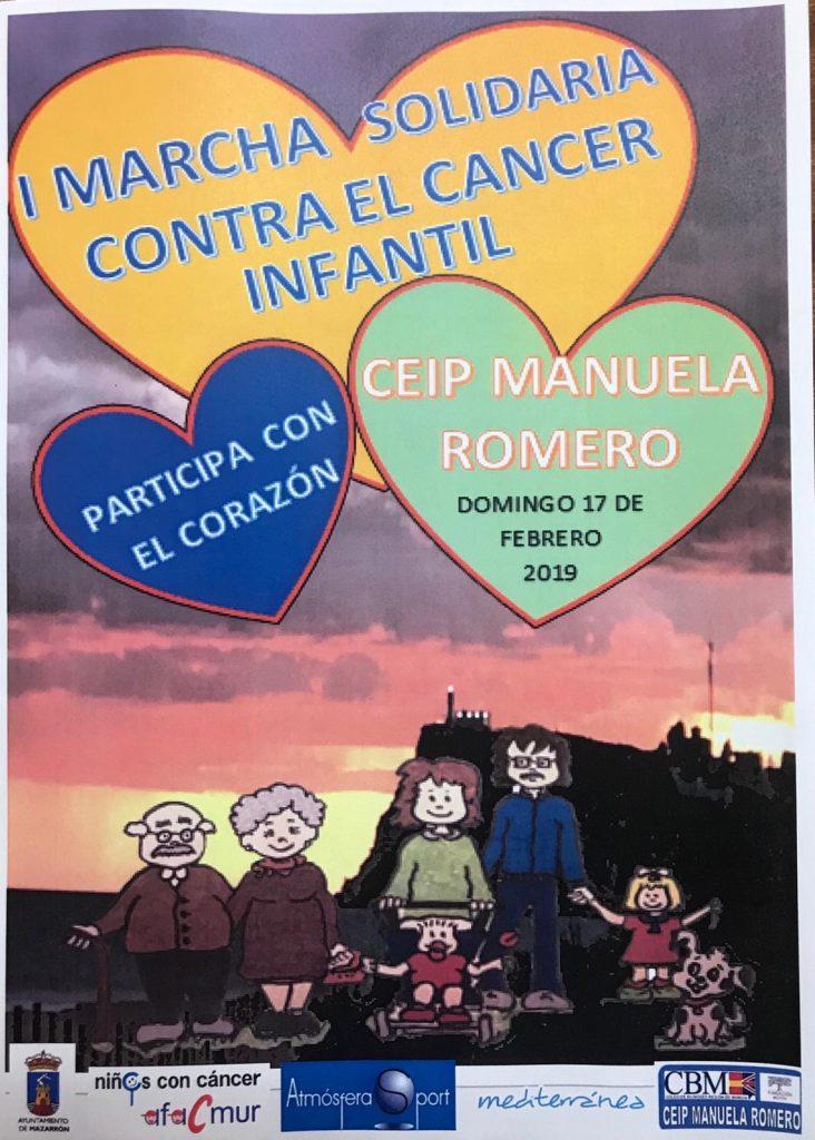 AMPA Los Caleñares, El próximo domingo 17 de febrero a partir de las 10:30h el CEIP Manuela Romero organiza la I MARCHA SOLIDARIA CONTRA EL CÁNCER INFANTIL